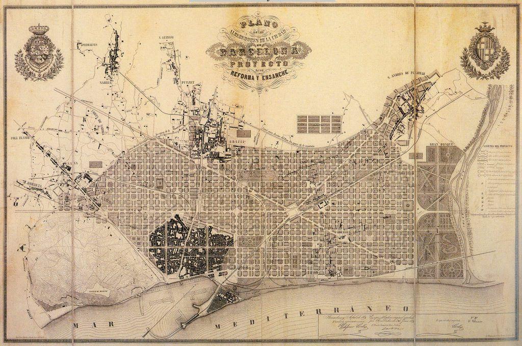 Plano de Barcelona y sus alrededores (1855) Plan Cerdà